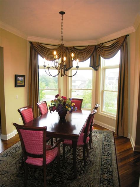 curtains for bay windows in dining room dining room window treatments