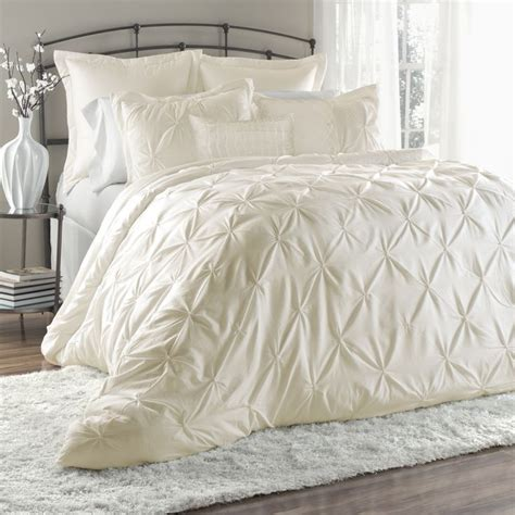 Ivory Bedding Set by Beautiful 6pc Luxury Ruffle Textured Ruch Pinched Ivory