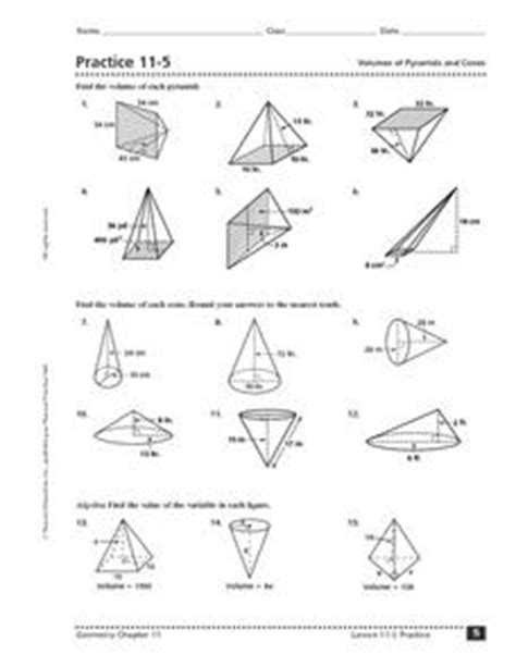 Volume Of A Cone Worksheet by Practice 11 5 Volumes Of Pyramids And Cones Worksheet For