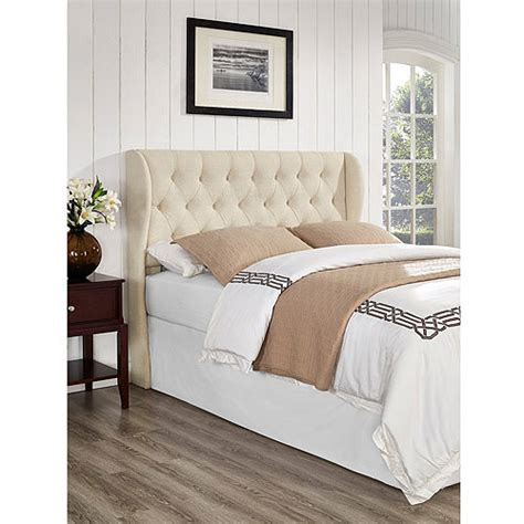 winged tufted headboard york tufted wing headboard linen walmart