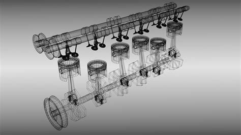 wallpaper engine models animated six cylinder engine 3d model fbx blend