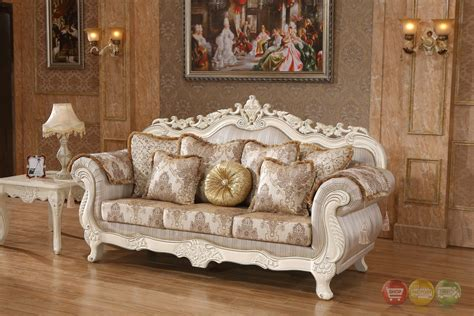 White And Gold Furniture by Serena Opulent Traditional Upholstered Sofa In Pearl White