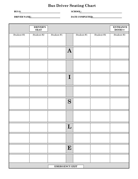 printable school bus seating chart templates pictures to
