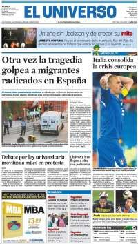 newspapers in ecuador. friday's edition, june 25 of 2010
