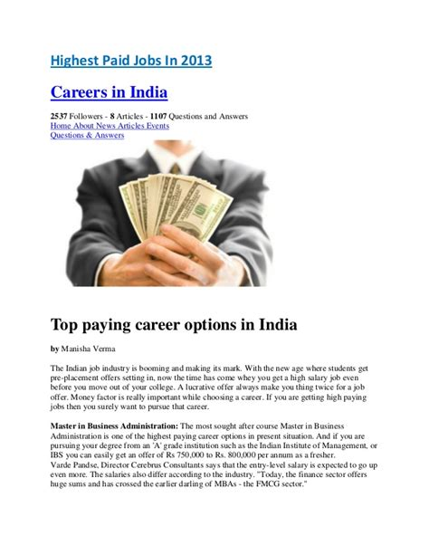 Highest Paid Mba In India by Highest Paid In India