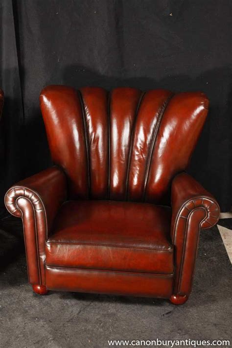 Hide Leather Sofa Pair Art Deco Arm Chairs Hide Leather Sofa Seats