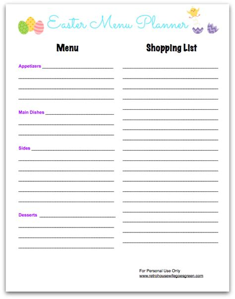 free printable easter planner have a stress free and frugal easter dinner retro