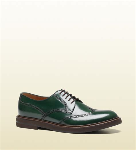 gucci green leather lace up brogue shoes cool s