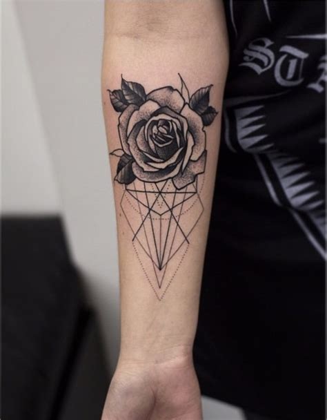 geometric and flower tattoo rose tattoos pinterest