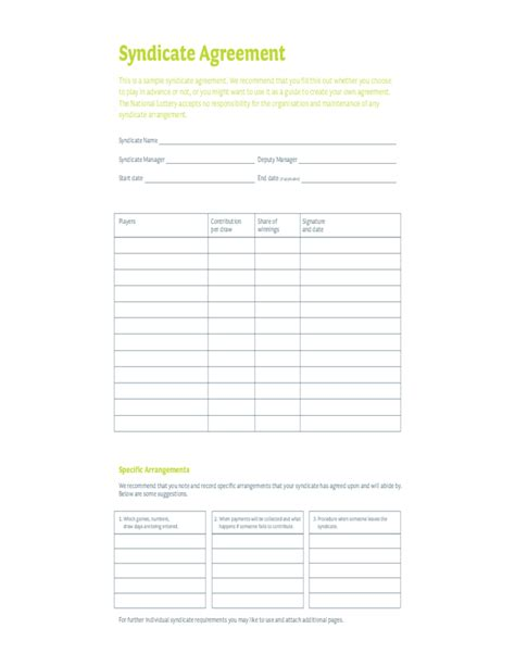 lottery agreement template editable lottery syndicate form free