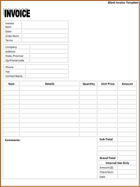 free printable blank invoice template free invoice printable hardhost info