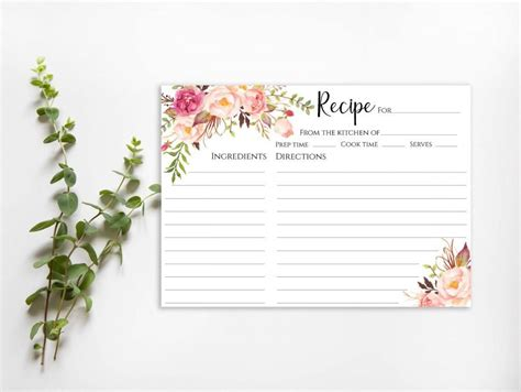 Recipe Cards 5x7 Template by Bridal Shower Recipe Card Sign Template Floral Recipe