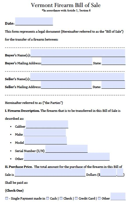 Bill Of Sale For A Mobile Home Free Vermont Manufactured Mobile Home Bill Of Sale Form