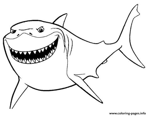 nemo shark coloring pages bruce finding nemo movie coloring pages printable
