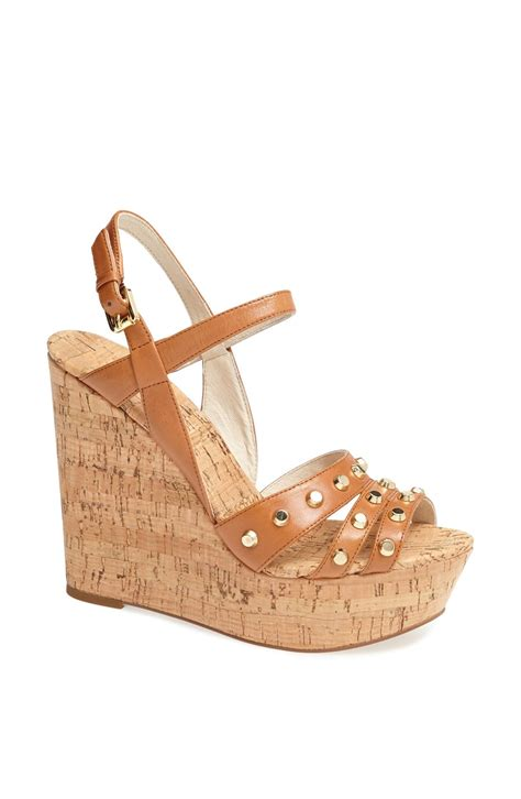 wedge sandals michael michael kors wedge sandal in brown luggage lyst