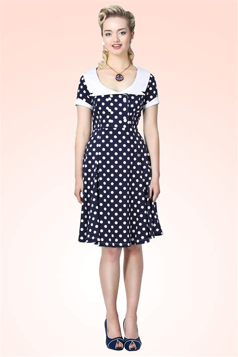 Nl Dress Polka 50s doll swing dress in blue white polka