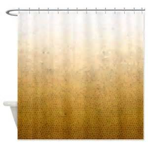 ombre gold shower curtain on