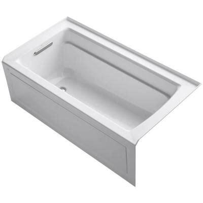 kohler deep soaking bathtubs kohler archer 5 ft left hand drain acrylic soaking tub in white k 1123 la 0 the