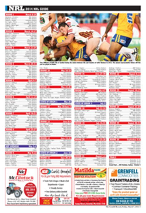 Printable Version Nrl Draw 2015 | 2014 national rugby league draw central western daily
