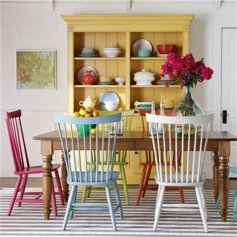 yellow hutch chairs painted different colors kitchen painted chairs what i