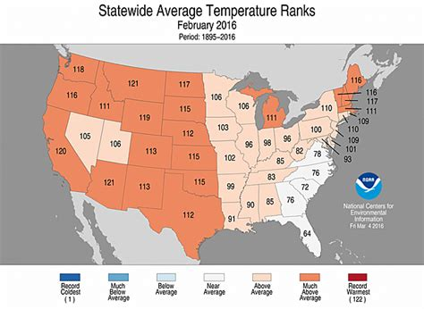 us weather map in february national climate report february 2016 state of the