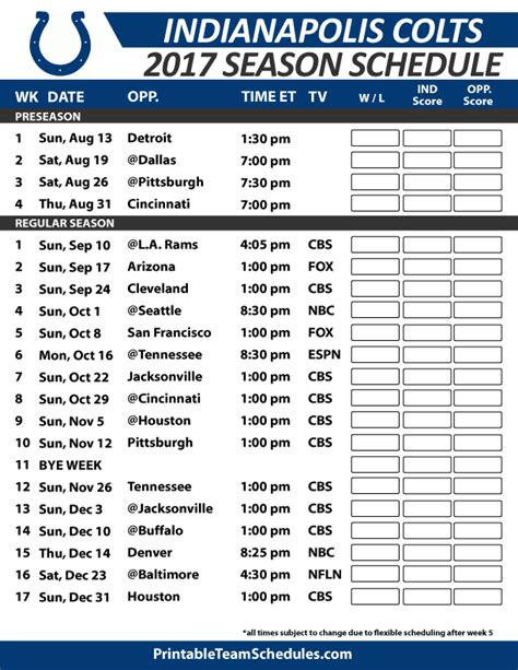colts home schedule 2014 2015 complete printable nfl season schedule autos post