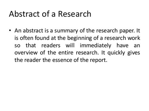 How To Make An Abstract For A Research Paper - abstract of a research