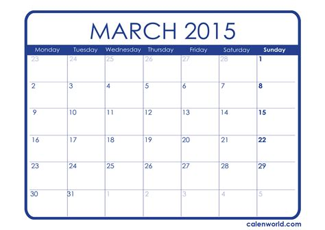 Calendar March 2015 Printable 2015 Monthly Calendars Calendars