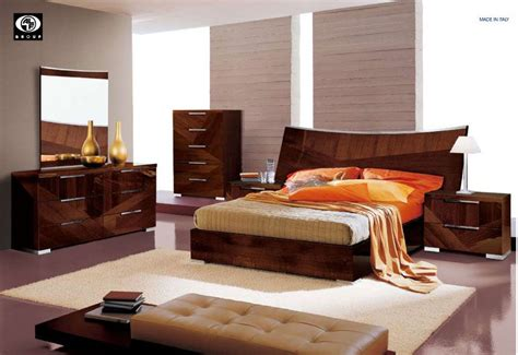 modern italian bedroom set made in italy wood high end contemporary furniture in brown lacquer san jose