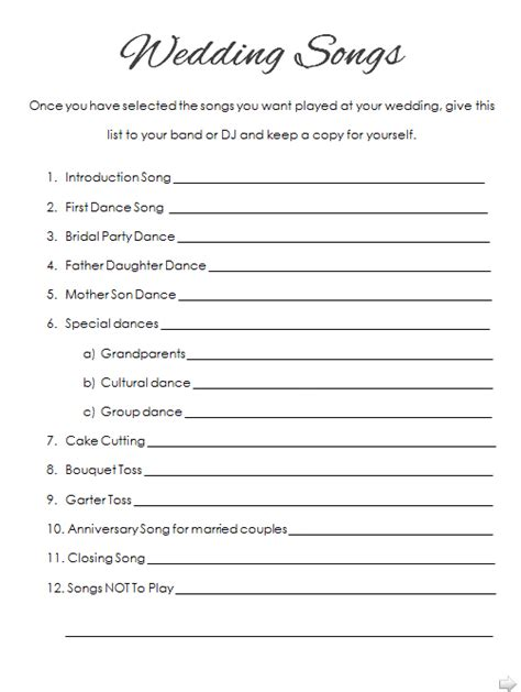 Wedding Song List Printable how to plan your wedding reception printable list