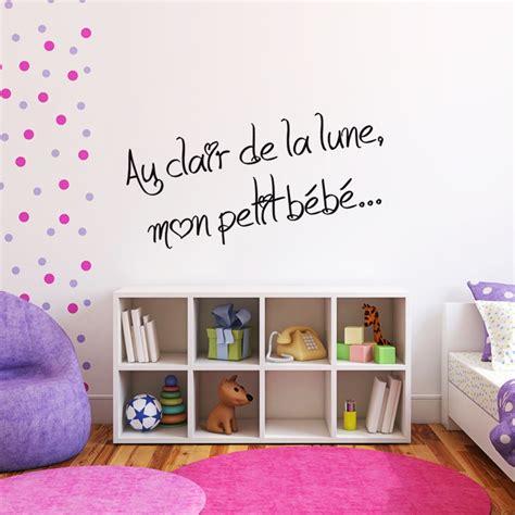 sticker phrase pour chambre d enfant au clair de la lune