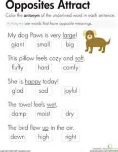 antonyms opposites attract worksheet education com