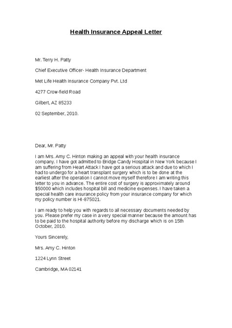 Appeal Letter To Insurance Company Health Insurance Appeal Letter Hashdoc
