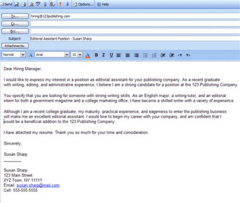 how to email a cv and cover letter 14374