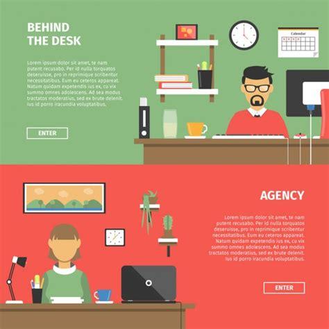 design banner office office desktop banners in flat design vector free download