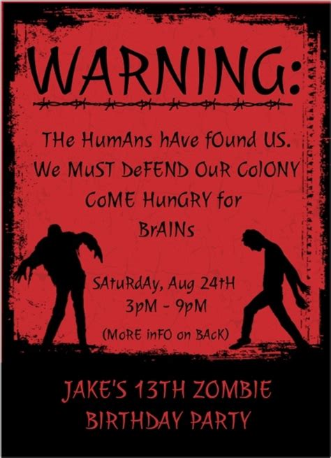 codashop amazon zombie birthday party invitation images invitation