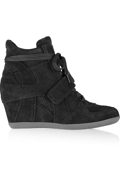 ash wedge sneaker ash bowie suede wedge hightop sneakers in black lyst