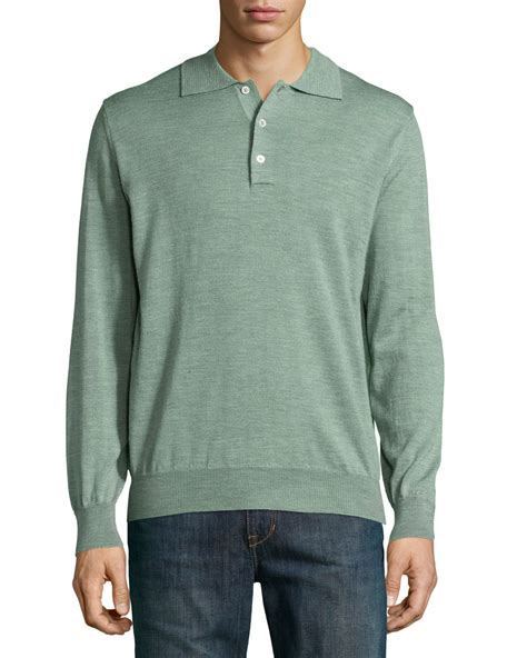 Polo Sweater lyst robert talbott sleeve polo sweater in green