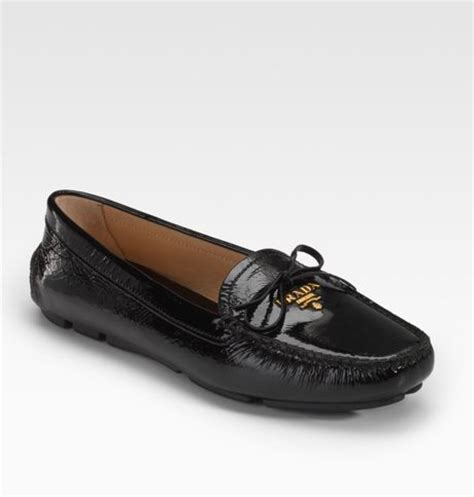 prada patent leather loafers prada patent leather loafers in black lyst