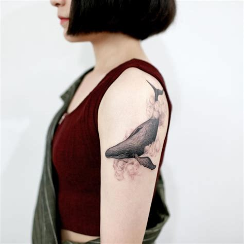serene whale amp cloud arm piece best tattoo design ideas