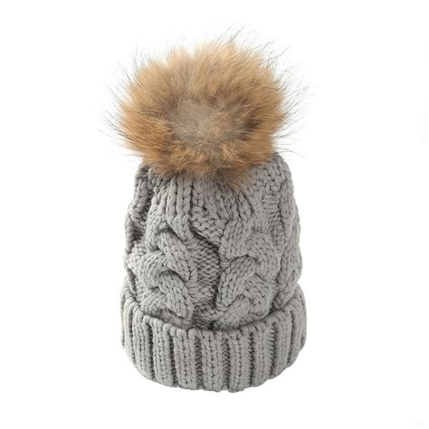 cable knit pom pom hat womens cable knit winter knitted beanie faux fur