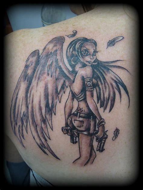 tattoo angel with guns angel woman with gun by ragamuffinoconnor on deviantart