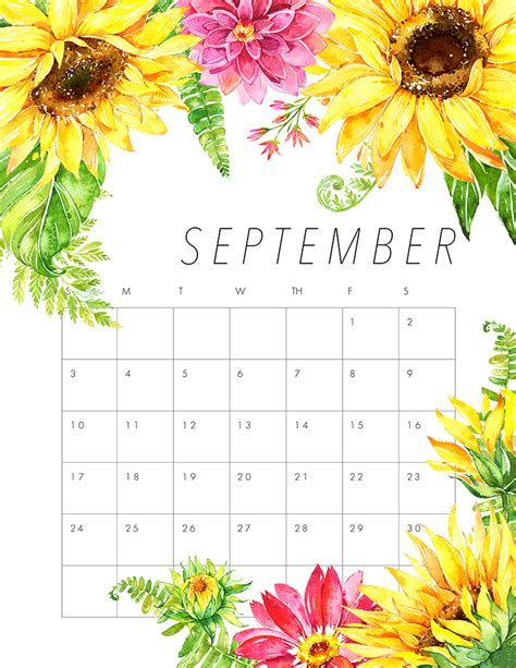 printable calendar september free printable 2017 floral calendar the cottage market