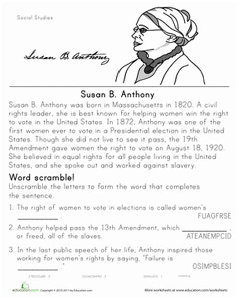 historical heroes susan b anthony worksheet