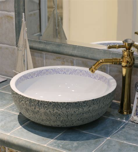 bowl sinks for bathrooms with vanity europe vintage style ceramic art basin sinks counter top