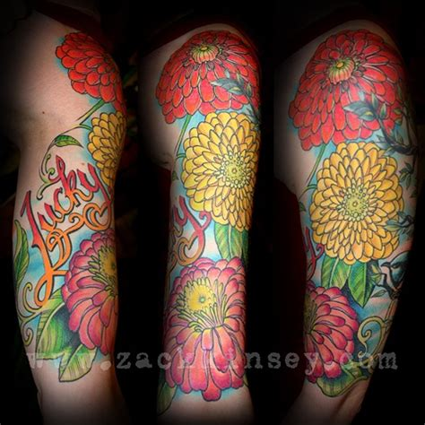tattoos by zack kinsey letta s zinnias