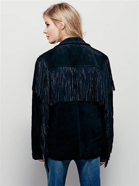 black leather jacket with fringe free people understated leather womens western black