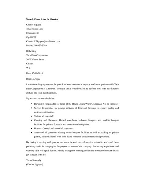 Greeter Cover Letters basic greeter cover letter sles and templates
