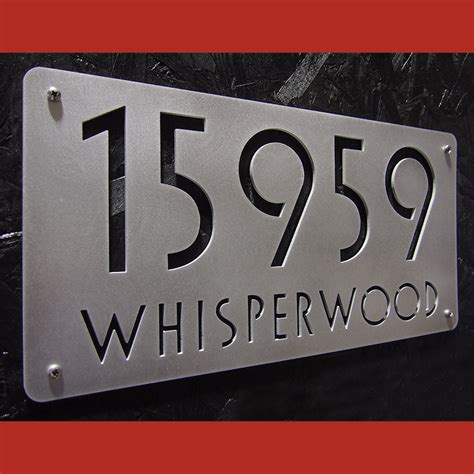 house address numbers custom euro deluxe address sign in hand brushed aluminum