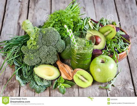 Detox With Green Vegetables by Green Smoothie Stock Photo Image 52033295